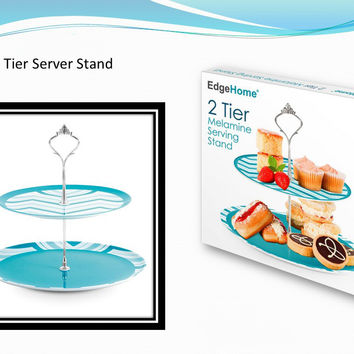 Two Tier Melamine Serving Tray Case Pack 12