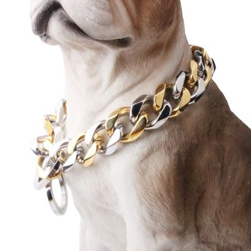 """10/12/15/17/19MM Strong Heavy 316L Stainless Steel Silver Gold Curb Cuban Dog Chain Pet Collar Choker Necklace 12""""-34"""" Hotsale"""