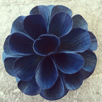 One dozen denim blue dahlia wood flowers 2 inches