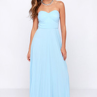 LULUS Exclusive Always Charming Strapless Light Blue Maxi Dress