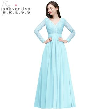2018 Wedding Bridesmaid Lace Long Sleeve Bridesmaid Dresses Chiffon Bride Formal Party Dress Backless Prom Gowns Robe De Soiree