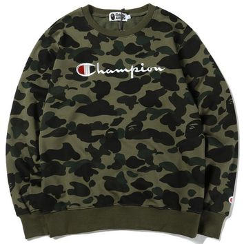 Bape X Champion Trending Women Men Embroidery Loose Camouflage Velvet Pullover Top Sweater