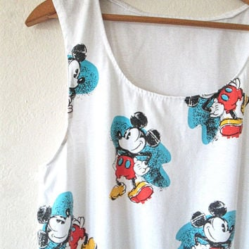 Vintage 1990s MICKEY MOUSE Disney Muscle Tank Top Sz M