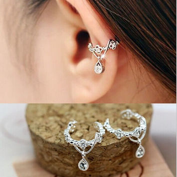 Cute Without Pierced Ear Bone Folder Punk Fashion Ear Cuff Wrap Rhinestone Cartilage Clip On Earring Non Piercing  Jewelry = 5987802817