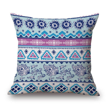 Modern Geometric Ethnic Pillow Case Decorative Bohemian Cushion Cover Blue Striped Pillowcase 45x45 Linen Hotel Sofa Decorations