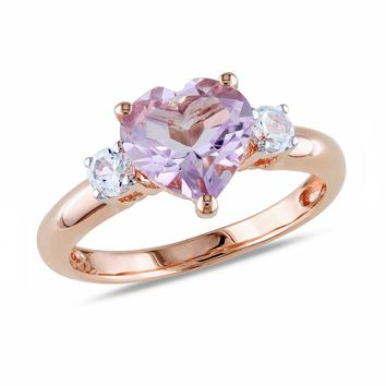 Rose de France Amethyst Created White Sapphire Heart Ring - Size 9