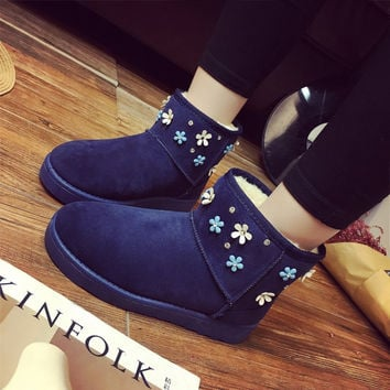 On Sale Hot Deal Thicken Cotton Shoes Floral Anti-skid Flat Boots [9257120268]