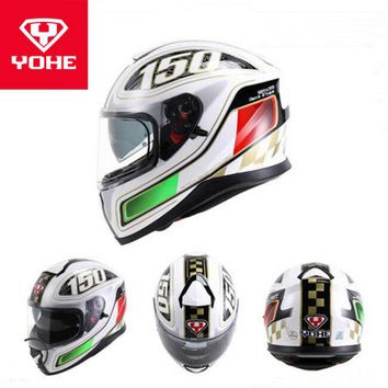 2017 Winter New YOHE Full Face Motorcycle Helmet Double Lens Motorbike Helmets made of ABS and PC visor 8 colors Size M L XL XXL