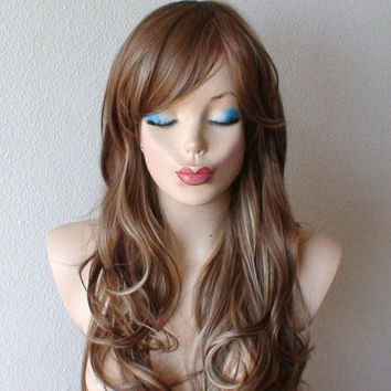 Spring  Special //Dirty blonde/ Brown mixed hair wig. Long wavy brown dirty blonde wig, High quality Heat resistant synthetic wig.