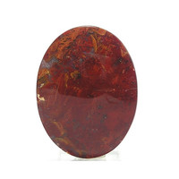 Moss Agate Calibrated Stone Flat Back Cabochon 40x30 mm Red and Golden Orange Gem Agate Loose Unset Jewel