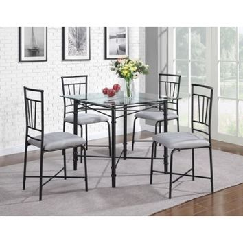 Dorel Living 5-Piece Delphine Glass Top Metal Dining Set, Black - Walmart.com
