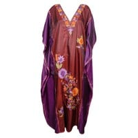 Mogul Womens Maroon Purple Kaftan Double Shaded Silk Floral Embroidered Kashmiri Caftan Evening Wear Beach Dresses Kaftan Maxi Dress Cover Up Housedress - Walmart.com