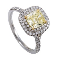 Tiffany & Co. Soleste White and Yellow Diamond Gold Platinum Engagement Ring