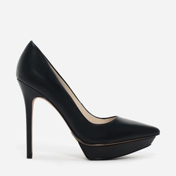 Black Pointed Platform Pumps | CHARLES & KEITH