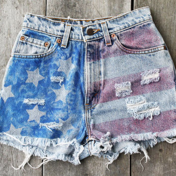high waisted american flag shorts / upcycled levis denim /  size 5