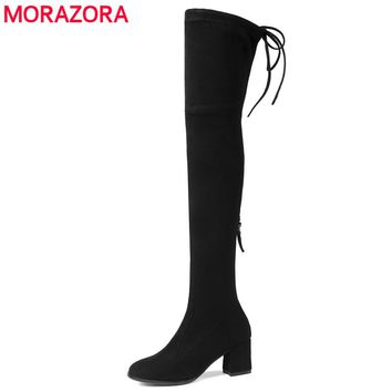 MORAZORA 2018 new fashion stretch flock leather women boots high heel thigh high over the knee boots ladies autumn winter boots
