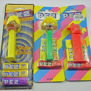 Vintage Childrens toys collectors items EURO Pez, a collection of three Pez packaged sealed  Mouse and parrot