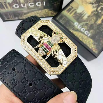GUCCI Stylish Woman Men Chic Bee Diamond Buckle Leather Belt