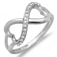 0.15 Carat (ctw) 10k Gold Round Diamond Ladies Promise Two Double Heart Infinity Love Engagement Ring