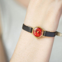 Red watch for women gold plated Seagull, vintage women's watch very small, minimalist lady watch gift jewelry rare new premium leather strap