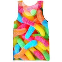 colorful sour gummy worms
