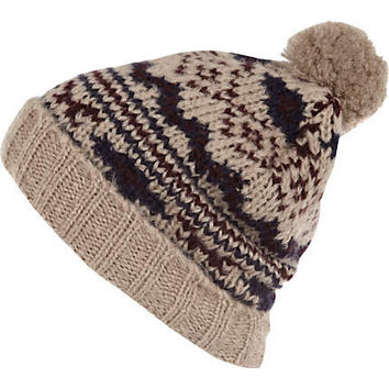 Light brown pattern bobble beanie