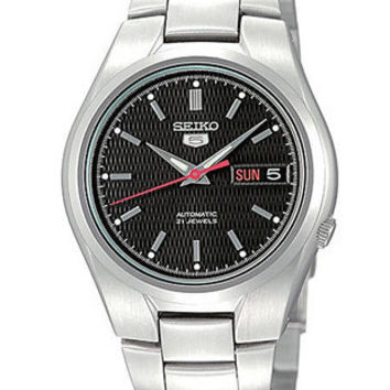 Seiko 5 Automatic Mens Watch - Black Textured Dial - Steel Case and Bracelet