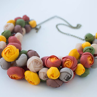 Red Orange Yellow Green Floral Necklace 'Autumn flowers'