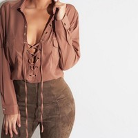 Fashion lapel solid color Shirt Blouse Tops