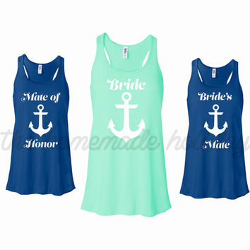 Personalized Bride and Bridesmaids Bachelorette Party Tank tops, Brides Mates, mate of honor, nautical bachelorette party theme