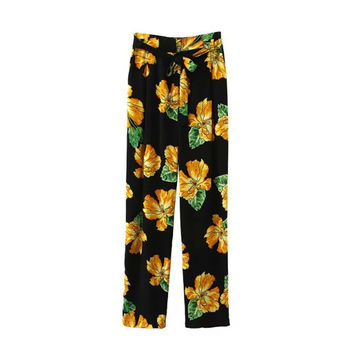 Women's Fashion Summer Vacation Floral Print Pants [4920279940]