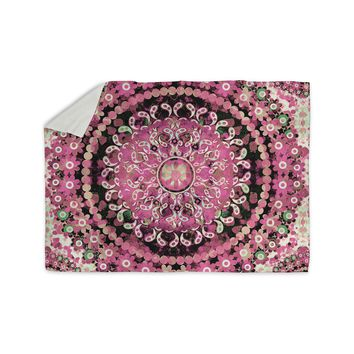 "Nina May ""Pink Mosaic Mandala"" Pink Beige Illustration Sherpa Blanket"