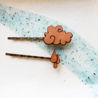 Hair Pin Set Rain Drop and Cloud Rainy Day Leather Hair by iluxo