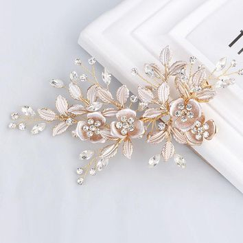 Elegant Handmade Golden Crystal Freshwater Pearls Flower Leaf Wedding Hair Clip Barrette Bridal Headpiece Hair accessories