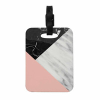 "Cafelab ""Marble Collage With Pale Pink ""  Gray Pink Decorative Luggage Tag"