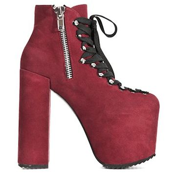 Unif – Magnificent Hellbound Platform Lace Up Bootie In Wine | Thirteen Vintage