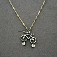 initials necklace,bike necklace,bridal bridesmaids wedding gift,personalized love gift,besties sisiters gift