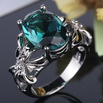 New Fashion Flower Jewelry 3ct AAAAA zircon green stone wedding band rings for women 925 Sterling Silver Female Ring drop ship