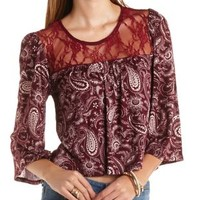 Lace Yoke Paisley Print Peasant Top by Charlotte Russe