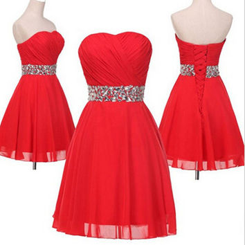 Strapless Sparkle Red Short Prom Dress