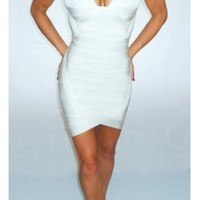 WHITE DEEP PLUNGE LOW CUT SCALLOP BANDAGE DRESS - Rocka Frock
