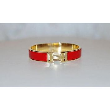 Hermes Popular Ladies Men Personality Red Enamel Wide Clic-Clac H Couple Bracelet(7-Color) I