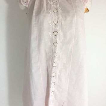 SALE Vintage Pink Nightgown Pink Nightie Embroidered Flower Nightgown Pink Cotton Nightgown Summer Nightgown 1960s Nightgown Size Small