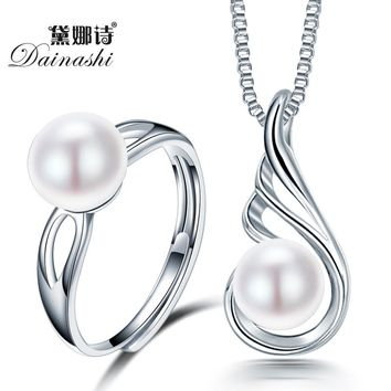 Dainashi 2016 Big Sale Wedding Jewelry Sets 925 Sterling silver Necklace/Ring Sets for Women Natural Freshwater Pearl Jewelry