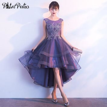 PotN'Patio High Low Prom Dresses 2018 Elegant O-neck Sleeveless Lace Tulle Purple Tiered Short Prom Dress