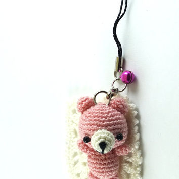 Mini Dust Pink Bear Amigurumi Crochet Doll Cell Phone Charm with Black Beads eyes // Petit, Little, Miniature Craft
