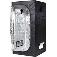"""iPower 36""""x36""""x72"""" Hydroponic Water-Resistant Grow Tent with Removable Floor Tray for Indoor Seedling Plant Growing 3'x3'"""