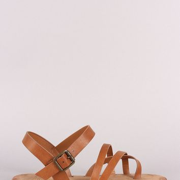 Bamboo Astymmetric Ankle Strap Flat Sandal