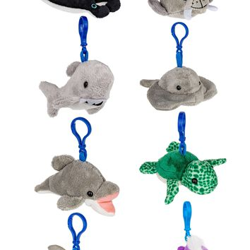 8 Pack Ocean Animals, 4 Inch, Backpack Clip Toy Keychain, Bundled Plush Mini Kids Party Favors