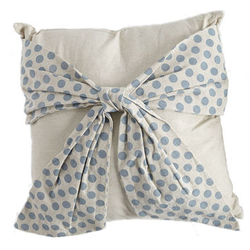 Blue Polka Dot Bow Pillow